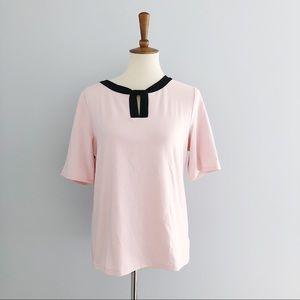 Talbots Pink & Black Short Sleeve Blouse Size L